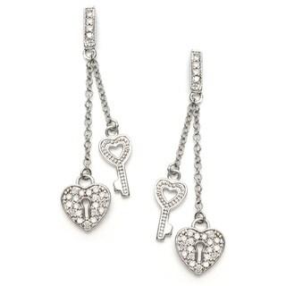 Sterling Essentials Silver CZ Key to My Heart Drop Earrings
