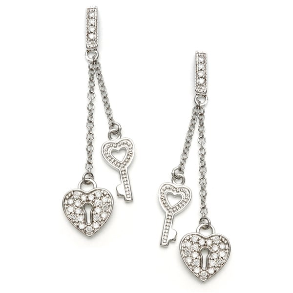 Sterling Essentials Silver CZ Key to My Heart Drop Earrings