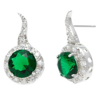 Sterling Essentials Silver Esmeralda Green Cubic Zirconia Drop Earrings