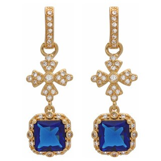 Sterling Essentials Gold over Silver Royal Blue CZ Drop Earrings