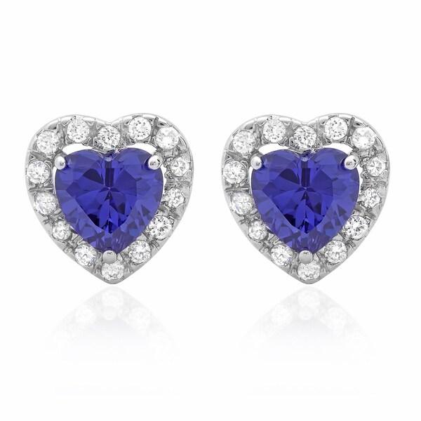 Sterling Essentials Silver Purple Cubic Zirconia Heart Stud Earrings 11851599