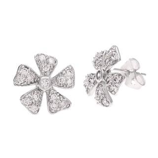 Sterling Essentials Silver CZ Daisy Stud Earrings
