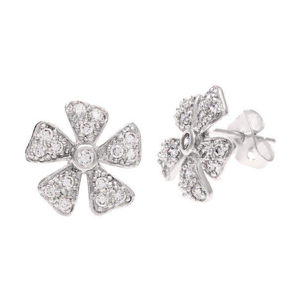 Sterling Essentials Silver CZ Daisy Stud Earrings