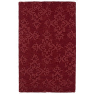 Trends Red Damask Wool Rug (2' x 3')