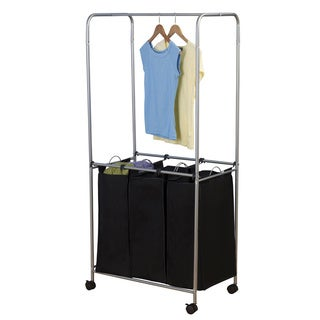 Satin Silver Laundry Center with Hanging Rack