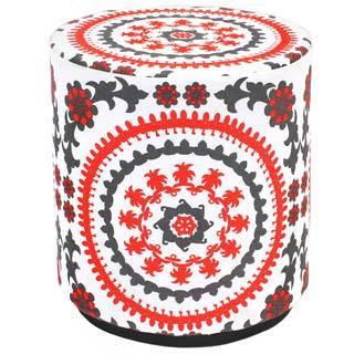 Navy Red and White Suzy Pouf Ottoman (India)