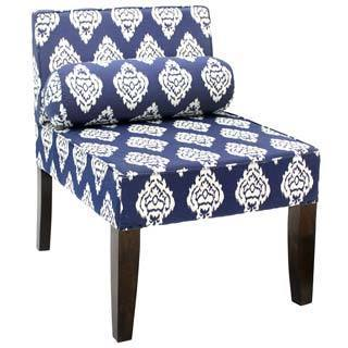 Isabelle Navy and White Arm-less Chair (India)