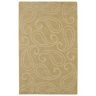 Trends Yellow Paisley Wool Rug (5'0 x 8'0)