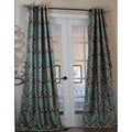 Milan Damask Smoky/Teal 96-inch Curtain Panel