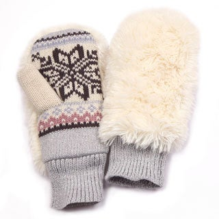 Muk Luks Girl's White Furry Mittens
