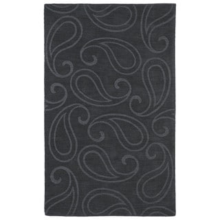 Trends Charcoal Paisley Wool Rug (8' x 11')