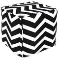 Handcrafted Black and White Chevron Pouf Ottoman (India)