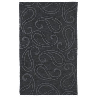 Trends Charcoal Paisley Wool Rug (5' x 8')