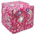 Handcrafted Pink Kantha Pouf Ottoman (India)