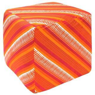 Handcrafted Sunrise Decorative Pouf Ottoman (India)