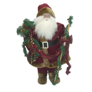 24-inch Standing Santa in Traditional Red Fabric Suit with Faux Robe Holding Staff and Garland
