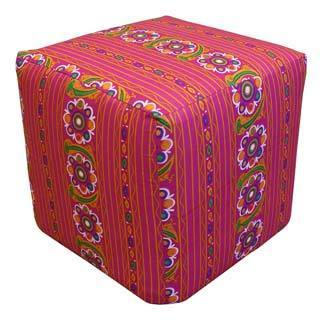 Handcrafted Flower Stripe Pouf Ottoman (India)