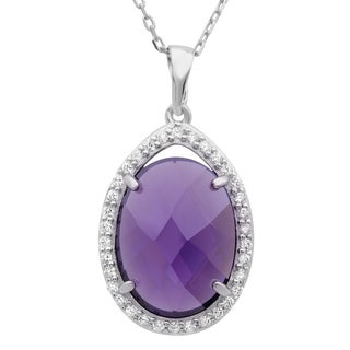 Sterling Essentials Silver Purple Checkerboard Cubic Zirconia Necklace