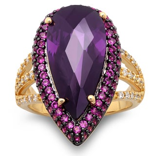 Sterling Essentials Gold over Silver Purple Pear CZ Cocktail Ring