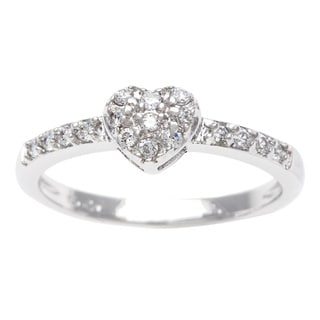 Sterling Essentials Silver Pave CZ Stackable Heart Ring