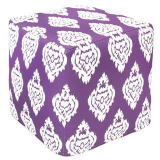 Purple Damask Outdoor Pouf Ottoman (India)
