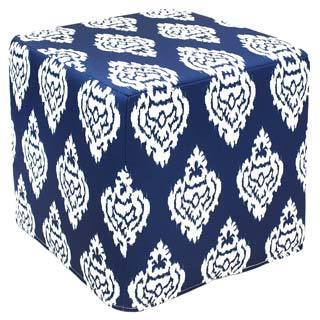 Dark Blue Damask Outdoor Pouf (India)