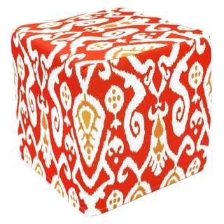 Handcrafted Red Ikat Pouf Ottoman (India)