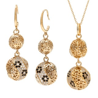 Sterling Essentials 18k Gold Over Silver Cubic Zirconia Florentine Filigree Bead Necklace and Earrin