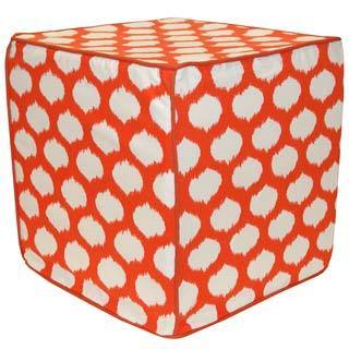 Orange and White Clara Pouf Ottoman (India)