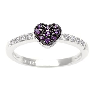 Sterling Essentials Silver Purple and White CZ Stackable Heart Ring
