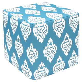 Bright Blue Damask Outdoor Pouf Ottoman (India)