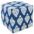 Deep Blue Damask Outdoor Pouf Ottoman (India)