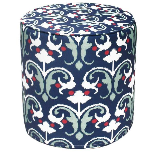 Handcrafted Blue Symmetry Outdoor Round Pouf Ottoman (India)