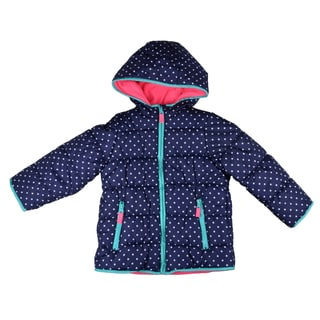 Carter's Girl's Blue Hooded Fleece-lined Coat