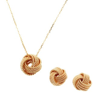 Sterling Essentials 18k Gold Over Silver 3D Milgrain Love Knot Necklace and Earrings Set