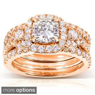 14k Gold Cushion-cut Moissanite and 1 1/3 ct TDW Diamond Bridal Ring Set (G-H, I1-I2)