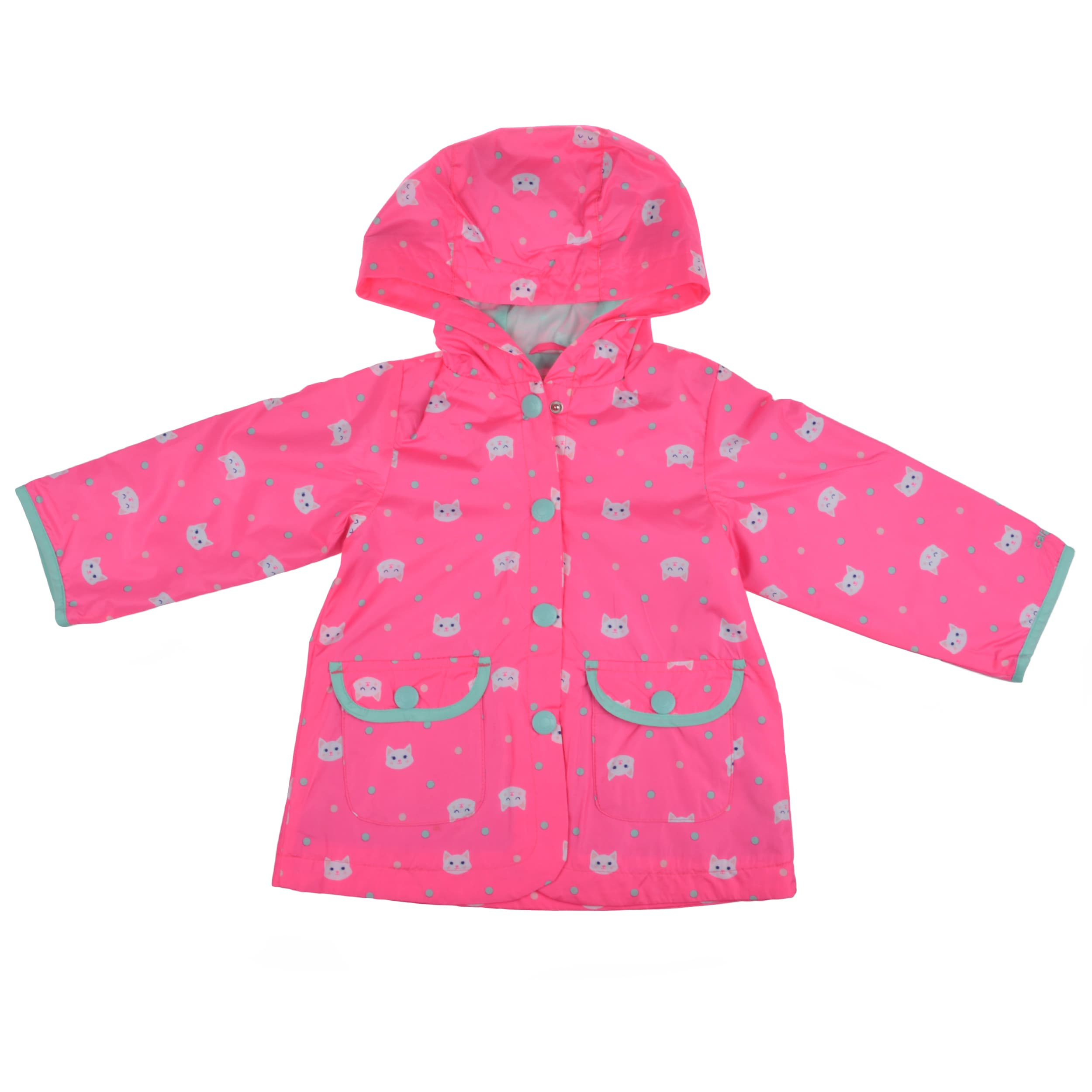 Carter's Girl's Pink Hooded Cat Print Rain Jacket