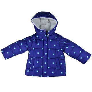 Carter's Girl's Blue Hooded Fleece Lined Coat