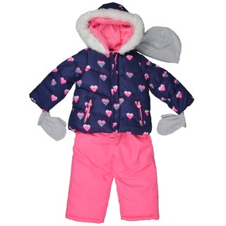 Carter's Girl's Hooded Faux Fur Trim Snow-suit Set