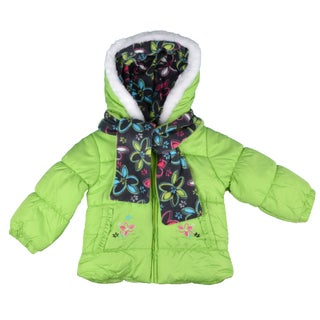 London Fog Girl's Faux-Fur Trim Bubble Jacket with Fleece Lining