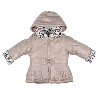 London Fog Girl's Hooded Faux-Fur Taupe Trim Bubble Jacket