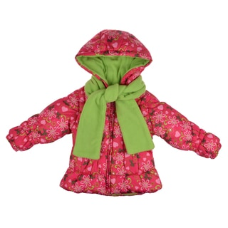 London Fog Girl's Fleece Lined Floral Print Bubble Jacket with Two Pockets