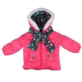 London Fog Girl's Pink Faux Fur Trim Bubble Jacket