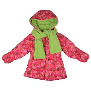 London Fog Girl's Pink Fleece-Lined Floral-Print Bubble Jacket