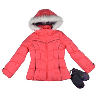 London Fog Girl's Hooded Faux Fur Trim Bubble Jacket