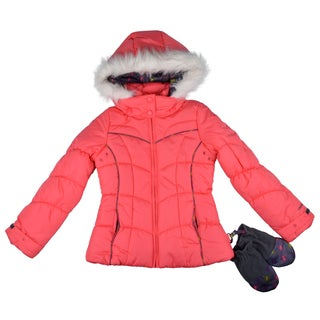 London Fog Girl's Hooded Faux-Fur Purple/Coral Trim Bubble Jacket