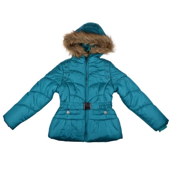London Fog Girls Teal Fleece-Lined Faux-Fur-Trim Bubble Jacket