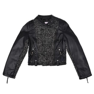 Jessica Simpson Girl's Faux Leather Motorcycle Jacket