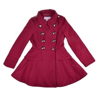 Jessica Simpson Girl's Double Breasted Peplum Peacoat