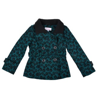 Jessica Simpson Girl's Belted Double Breasted Peacoat